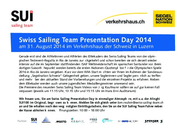 Swiss Sailing Team Presentation Day 2014